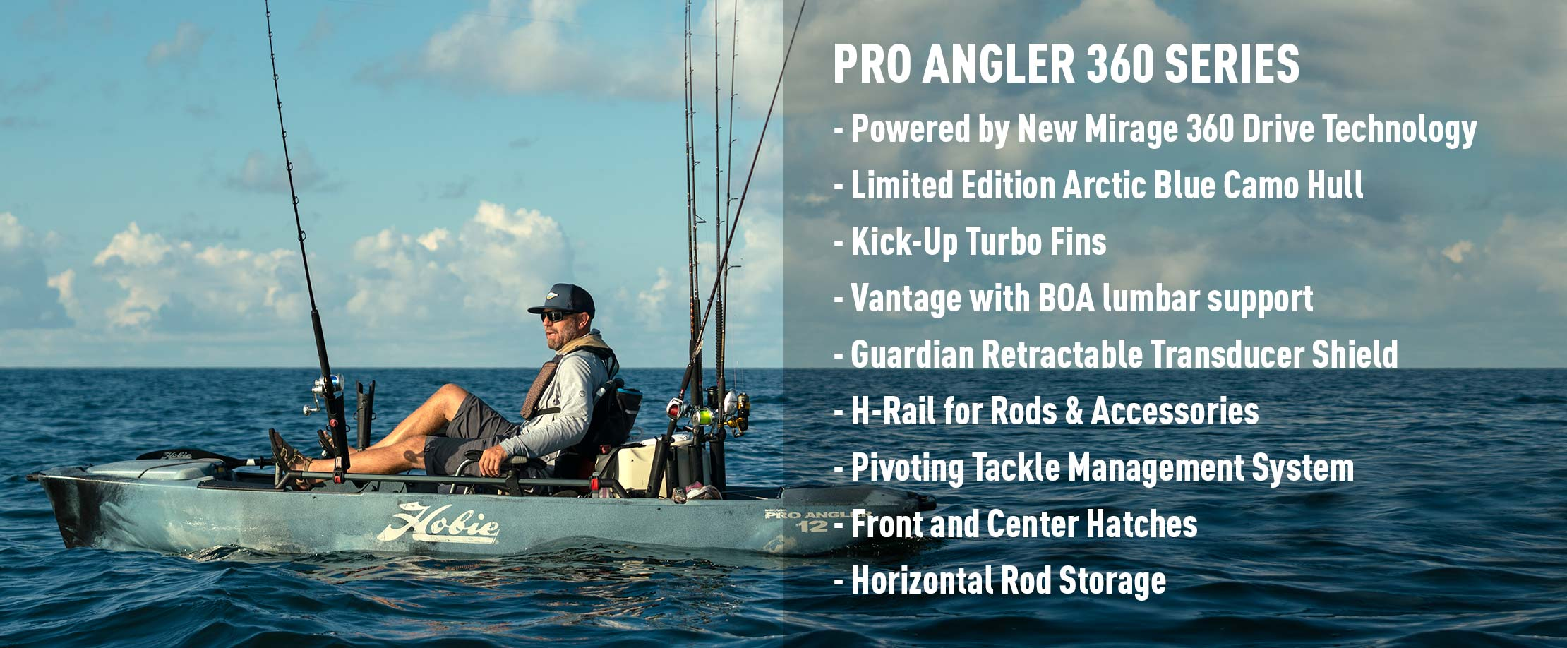 Mirage Pro Angler 12 with 360 Drive Technology Features