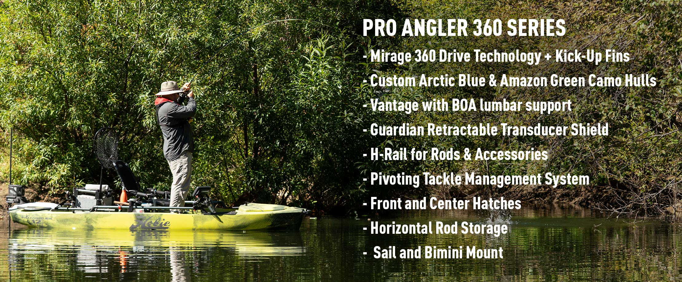 Mirage Pro Angler 14 with 360 Drive Technology Features